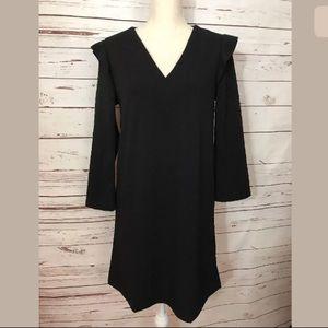 Mango Basics Black Dress Ruffle Ling Sleeves
